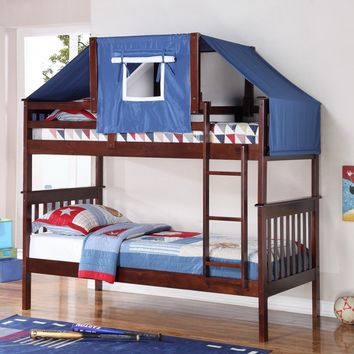 Logan Bunk Bed Tent Kit in Blue, Cappuccino Finish