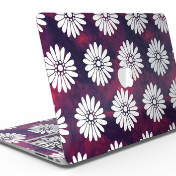 White Floral Pattern Over Red and Purple Grunge - MacBook Air Skin Kit