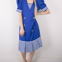 Vintage 80s Nautical Trumpet Dress