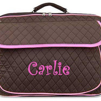 Monogrammed Laptop Case  Brown with Pink Trim Personalized Laptop Case  Embroidery Monogram Laptop Bag