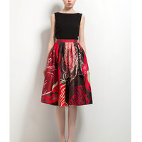 Exotic Blooms Pleated Midi Skirt Multi