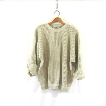 vintage slouchy sweater. off white sweater. pullover shirt. size XL