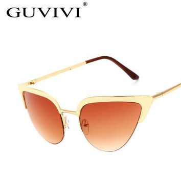 2016 Guvivi Cat Eye Sunglasses Women Vintage Metal Frame Mirror Aviation Sun Glasses Unique Flat Ladies Sunglasses Uv400 Gy 3145