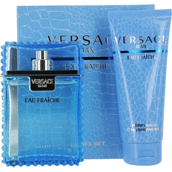 VERSACE MAN EAU FRAICHE by Gianni Versace EDT SPRAY 3.3 OZ & SHOWER GEL 3.4 OZ (Great for Travel)
