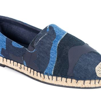 Valentino Garavani Men Blue Denim Camo Espadrilles Slip On