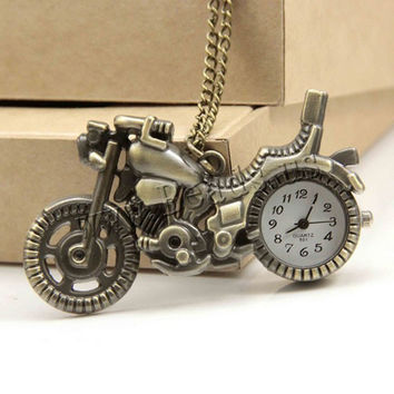Fashion Bronze Motorcycle Motorbike Pocket Watch Necklace Pendant Mens Watches Steampunk Gift