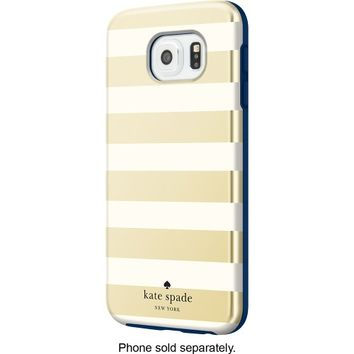kate spade new york - Hybrid Hard Shell Case for Samsung Galaxy S6 Cell Phones - Candy Stripe Gold/Cream/Navy
