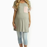 Grey Chevron Pocket Maternity Tunic