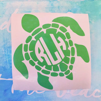 Sea Turtle Monogram Decal - Sea Turtle Decal - Turtle Decal - Monogram Decal - Preppy Decal - Nautical Decal - Laptop Decal - Car Decal