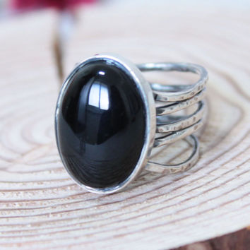 Wave Onyx Ring/ Onyx Cocktail Ring/ Handmade Sterling Silver Ring