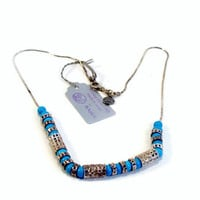 Turquoise Sterling Necklace, Alle Megiddo, Made in Israel, Sterling Silver, Mint with Tag, Turquoise Necklace, 16 Inch, Estate Jewelry