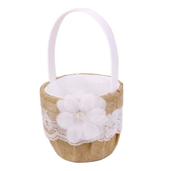NEW: Hessian Burlap Wedding Flower Girl Basket Lace Flower Decor