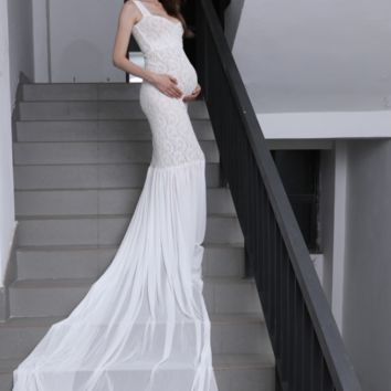 Long Train Maternity Dress Cap Sleeves Photo Prop Gown CCO35 (Multiple Colors)
