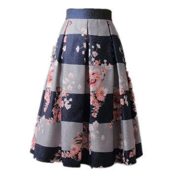Women Vintage Flower Print Ball Gown Pleated High Waist Tutu Midi Blue Skater Knee Length Skirts