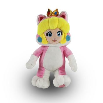 Super Mario party nes switch 18cm  3D Land Princess Peach Cosplay Cat Plush Toy Soft Stuffed Doll AT_80_8
