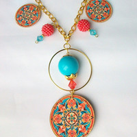 Wood Tile, Beaded Necklace. Turquoise and Coral Ornate Mandala Pattern.