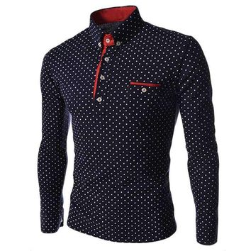 Men Turn Down Collar Polo Shirt Long Sleeve Polka Dot Polo Men Slim Fit Business Male Pullover Top