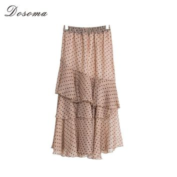 DOSOMA Summer Pleate Midi Skirt Female Ruffles High Waist Chiffon Elegant Long Women's Skirts Dot Color Korean Fashion Clothes