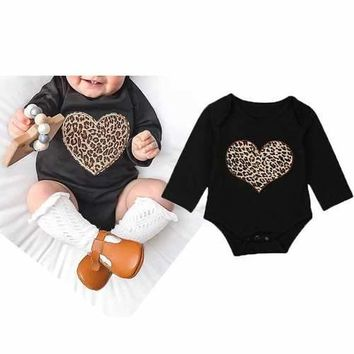 Leopard Heart Girls Jumpsuit For 0-24M