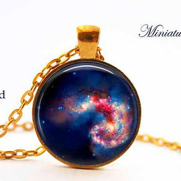 Deep Space Nebula Galaxy Pendant Colorful Celestial dark blue, red, gold, stars 1 inch Round 25mm Resin Pendant Bezel Free Domestic Shipping