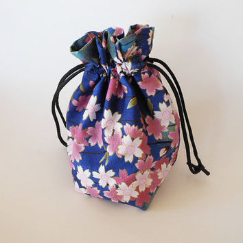 Drawstring Makeup Bag - Pink Sakura Blossoms & Navy - Japanese Fabric - Asian Fabric - Makeup Pouch - Cosmetic Bag - Adorable Little Bag