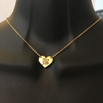 Personalized, Old English heart initial necklace