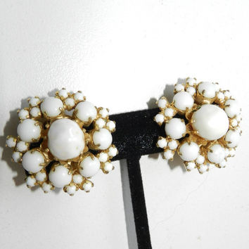 60s Hobe Signed Earrings Collectible Classic White Beaded Clip On Vintage Jewelry Jewellery