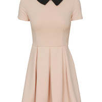 Evita Short Sleeve Collared Pleat Skater Dress in Dust Pink