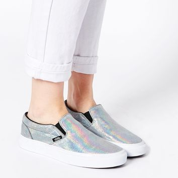Vans Classic Silver Holographic Slip on Trainers