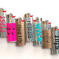 Holographic BIC Lighters // PICK your favorite, hipster, badass, lighter or customize! Vinyl wrapped BIC