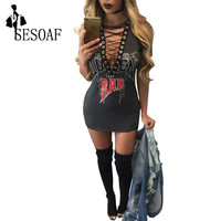 SESOAF Sexy Deep V Neck Lace Up Mini Women Dress Short Sleeve Print Bandage Bodycon Night Club Party Tshirt Dress 2016 Vestidos