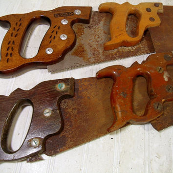 Old Aged Saws with Wooden Handles Collection of 4 - Vintage Antique Saws for Industrial Accent Decor Pieces - Crusty Rusty Heavy Metal Tools