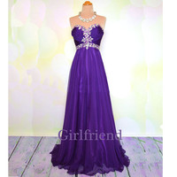 Elegant purple chiffon handmade floor-length beaded lady prom dress, graduation dress, party dress with sequins