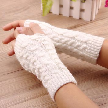 Free Shipping 2017 Top Quality Women's Long Handmade Knitted Crochet Fingerless Braided Arm Warmer