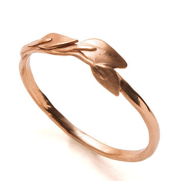 Leaves Ring - 18K Rose Gold Ring, unisex ring, wedding ring, wedding band, leaf ring, filigree, antique,art nouveau,vintage,organic,recycled