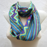 infinity scarf Loop scarf Neckwarmer Necklace scarf Fabric scarf   Blue Yellow Green Pink