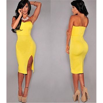 Summer Dress Style Women Sexy Bodycon Party Dress Wrapped Chest Dresses