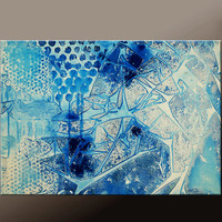Blue Abstract Canvas Art Painting 18x24 Original Contmporary Paintings by Destiny Womack - dWo - All The Broken Pieces
