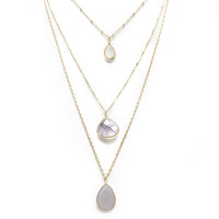 Dew Drops Layered Gold Necklace in Grey