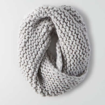 AEO Wool Twist Front Snood , Light Heather