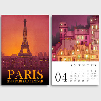 2015 Calendar,Paris Calendar,Paris Illustration,Gift for her,Mini Calendar,Paris art,Desk calendar,Wall calendar,Illustration,Paris decor