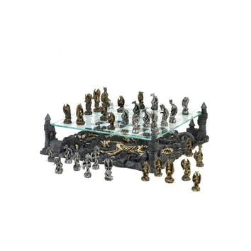 Dragon Chess Set with Elevated Glass Board