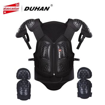 Trendy DUHAN Motocross Clothing Racing Body Armor Men Motorcycle Jacket Moto Waistcoat Protection Vest Chest Protective Gear Elbow Pads AT_94_13