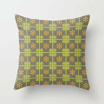 Green orange floral pattern Throw Pillow by cycreation