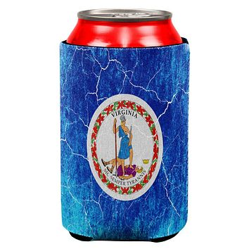 Virginia Vintage Distressed State Flag All Over Can Cooler
