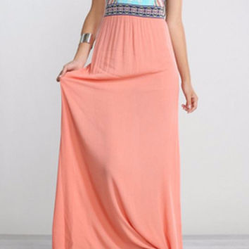Anita Embroidered Maxi Dress-Flying Tomato-Coral Multi