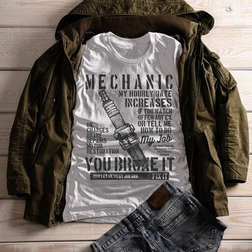 Women's Funny Mechanic T Shirt Hourly Rate Shirts Spark Plug Tee Mechanics Gift Idea