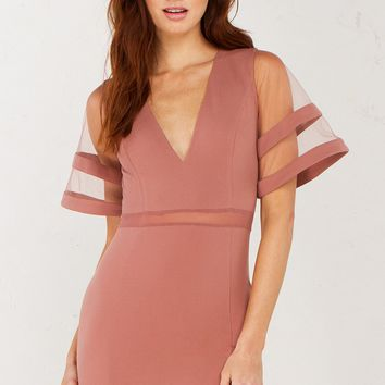 Mesh Sleeve Dress in Mauve