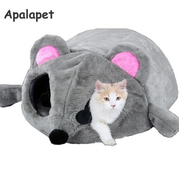 Grey Mouse Shape Cave Bed For Cats Removable Cushion, Waterproof Bottom