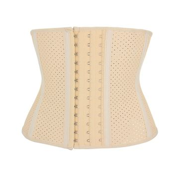 Latex Short Torso Hollow Out Waist Trainer Breathable L7593-NUDE